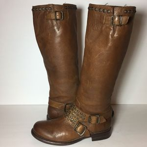 Frye 76415 Jenna Studded Buckle Brown Boots Size 8